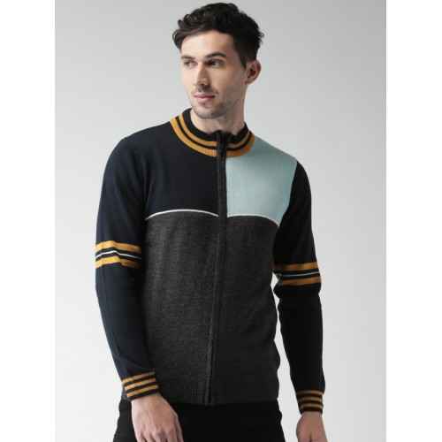 Harvard Men Charcoal Grey & Blue Colourblocked Cardigan Sweater
