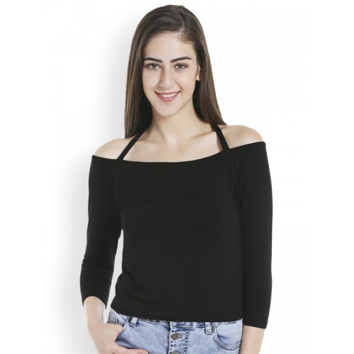 b228ce156bc Buy TARAMA Women Black Solid Fitted Bardot Top online | Looksgud.in