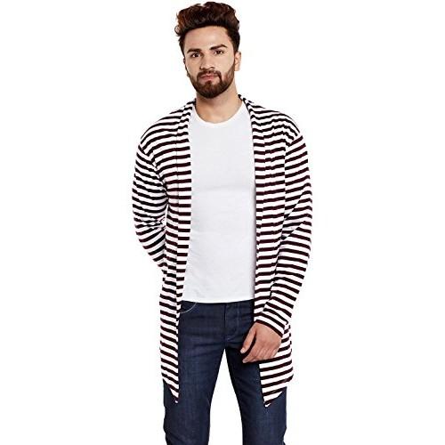 Chill Winston Maroon and White Stripe Cotton Shrug For Men