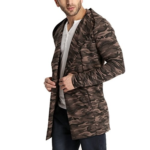 Tinted Brown Cotton Blend Camouflage / Army Hooded Cardigan