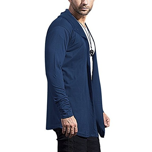 Maniac Mens Fullsleeve Hooded Navy Cotton Cardigan