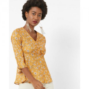 FabAlley Casual Bell Sleeve Floral Print Women's Yellow Top
