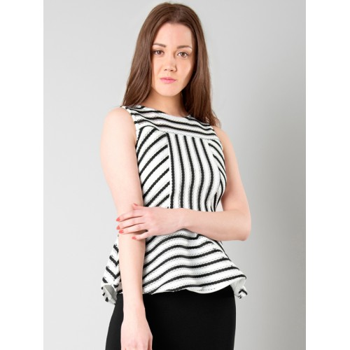 c742b1dc272501 Buy FabAlley Women White & Black Striped Peplum Top online ...