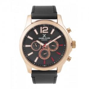 Daniel Klein Black & Gunmetal-Toned Multifunction Dial Watch DK11118-3