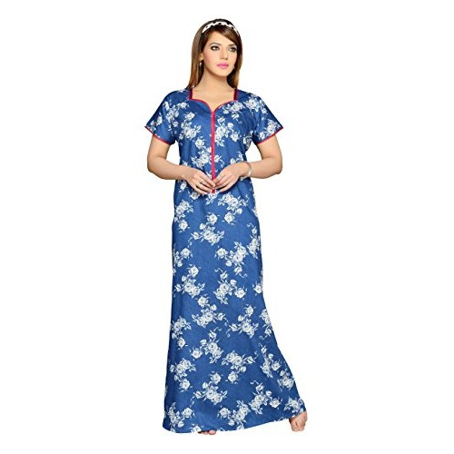 Buy Soulemo Blue Cotton Printed Premium Multipurpose Nighty online ... 81529f89e