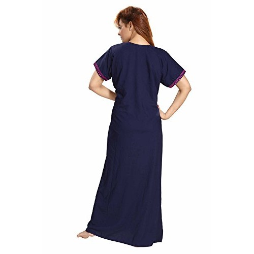 Buy Soulemo Navy Blue Womens Plain Embroidery Nighty online ... 36b19dbc1