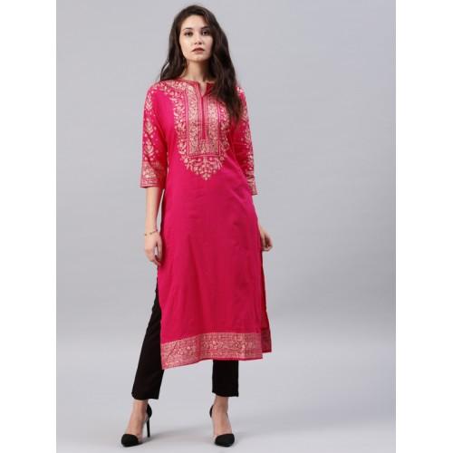 Vishudh Women Pink Printed A-Line Kurta