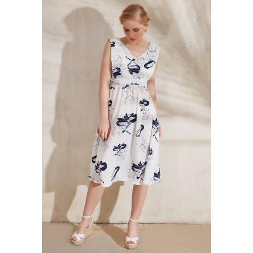 10a51151eee2 Buy Zephyr Printed Flared Dress- White online
