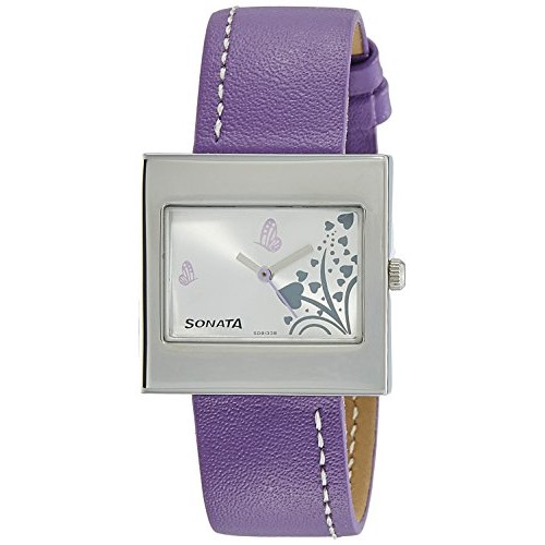 Sonata Yuva Fashion Analog White Dial Women's Watch - NF8965SL02A