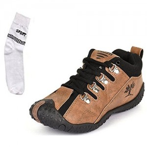 Maddy Brown Canvas Men's Casual Shoes & Socks