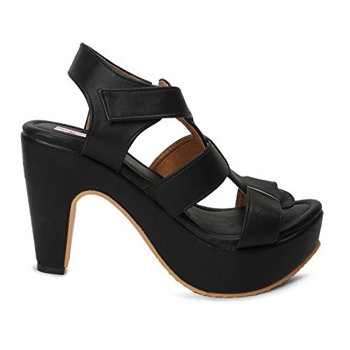 Meriggiare Black Synthetic Heels Sandals
