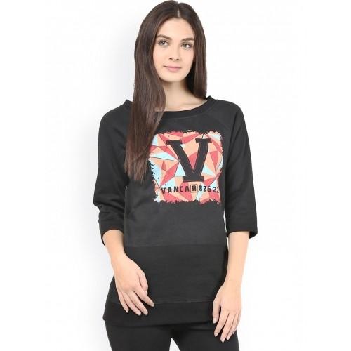 The Vanca Black Graphic Print Sweatshirt