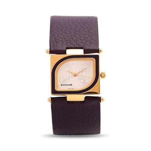 Sonata Yuva Gold Analog Silver Dial Women's Watch - ND8919YL03A