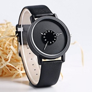 Kitcone Black Leather Round Analog Watch