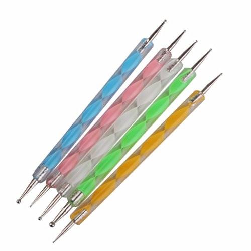 FOK Nail Art Combo,Nail Art Pen Set of 5,15pc Nail Brush Set