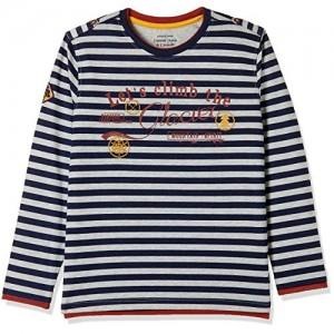 DJ&C Black Cotton Striped Regular Fit T-Shirt