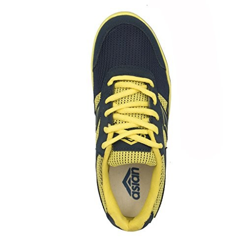Asian Shoes Kid's Junior 07 Navy Blue Yellow Shoes