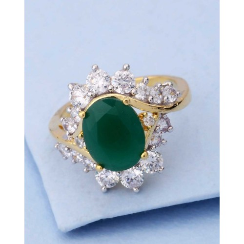 Voylla Embellished Ring With Cz Green Stone For Women