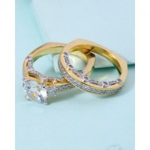 Voylla Ring Embellished With Cz Stone For Women-Pack of 2
