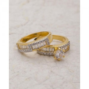 Voylla Graced With Cz Stone Ring- Pack of 2