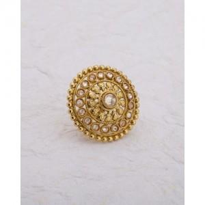 Voylla Elegant Yellow Gold Plated Statement Ring