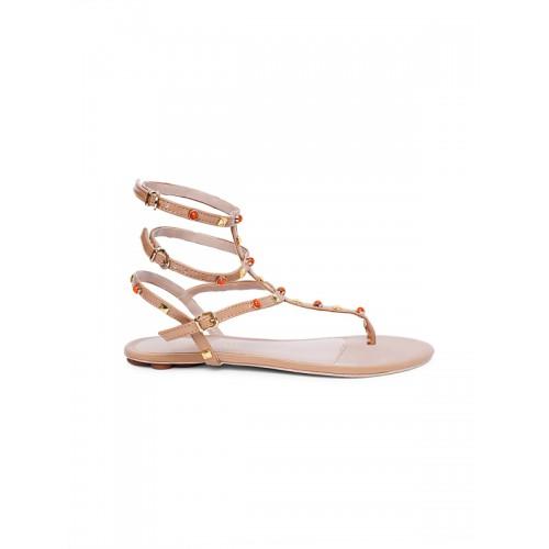 Catwalk Beige Solid Embellished Sandal