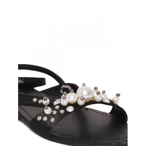 Catwalk Black Embellished Ankle Strap Sandals