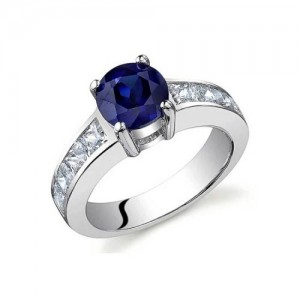 Voylla Sterling Silver S Ring With Cz Stones And Sapphire
