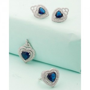Voylla Heart Shaped Blue Stones Mixed Combo Pack Of 3