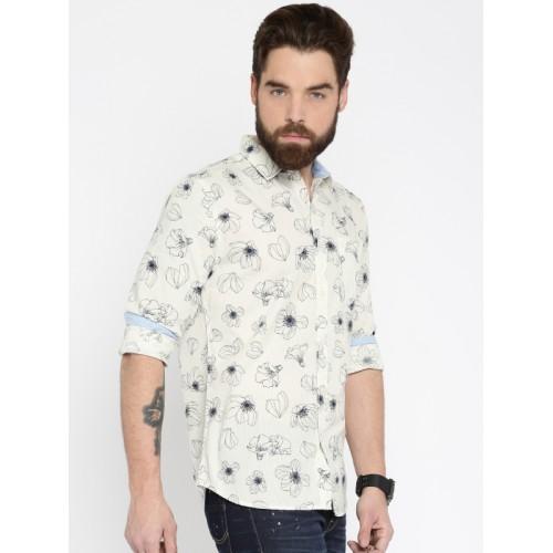 Jack & Jones Men Off-White & Navy Slim Fit Floral Print Casual Shirt