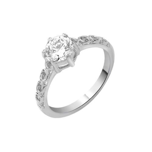 Voylla Peora Sterling Silver Rhodium Shank Cubic Zircon Solitaire Ring