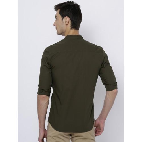 HIGHLANDER Men Olive Green Slim Fit Solid Casual Shirt