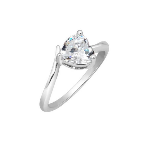 Voylla Peora Sterling Silver Rhodium Classic Heart Cubic Zircon Ring