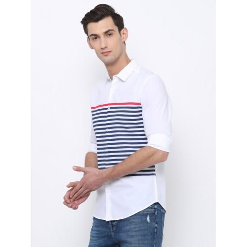 HIGHLANDER Men White Slim Fit Solid Casual Shirt