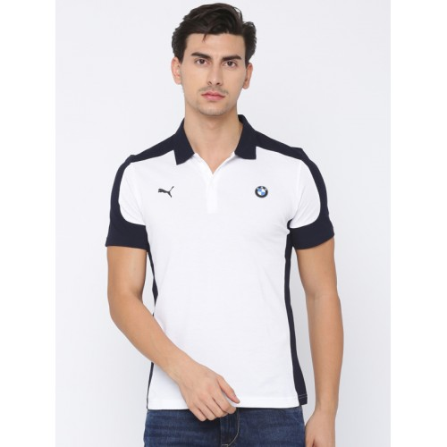 5e2927fb222 Buy Puma Men White & Navy Printed BMW MSP Polo T-shirt online ...
