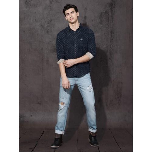 Roadster Men Navy Blue & Beige Regular Fit Reversible Printed Casual Shirt
