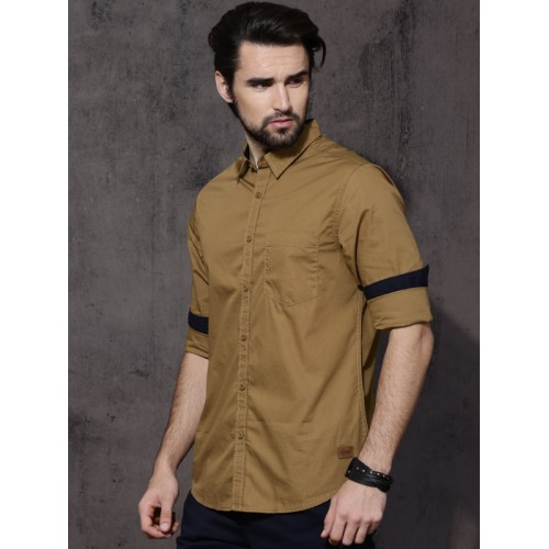 Roadster Khaki Cotton Solid Casual Shirt
