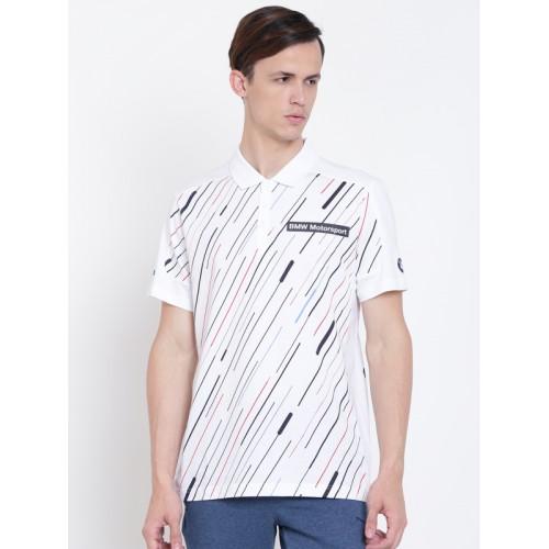 Puma Men White BMW MSP Graphic Printed Polo Collar T-shirt