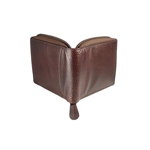 iMEX Men's Cherry Brown Round Zipper Genuine Leather Wallet…