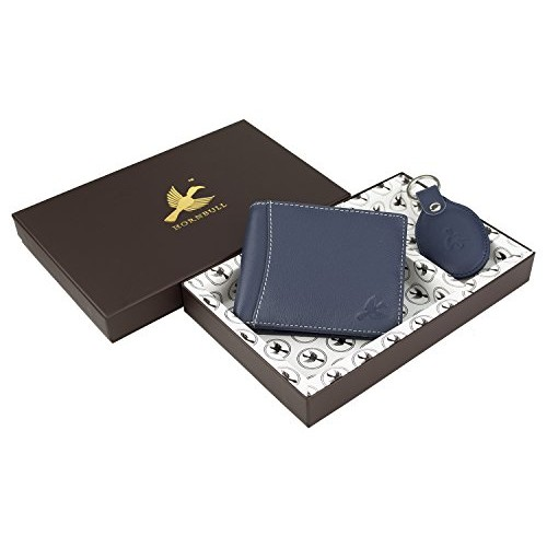 Hornbull Men's Navy Leather Wallet and Keyring