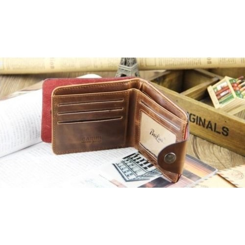 SBE New Vintage Style Bailini Hunter Mens Brown Leather Bifold Wallet
