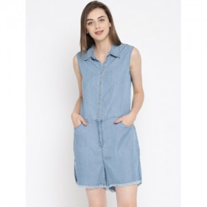 ONLY Blue Cropped Denim Dungarees