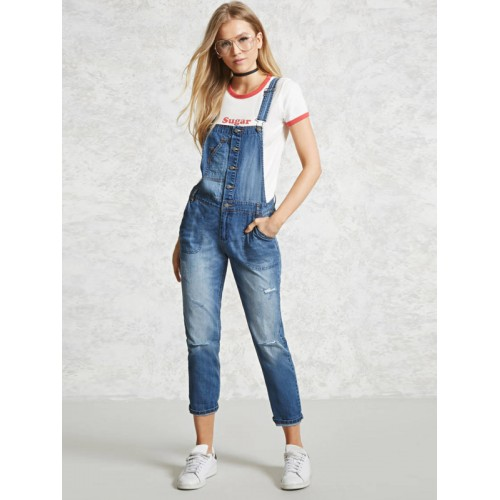 8e53d3b4b9 Buy FOREVER 21 Blue Washed Cropped Denim Dungarees online ...