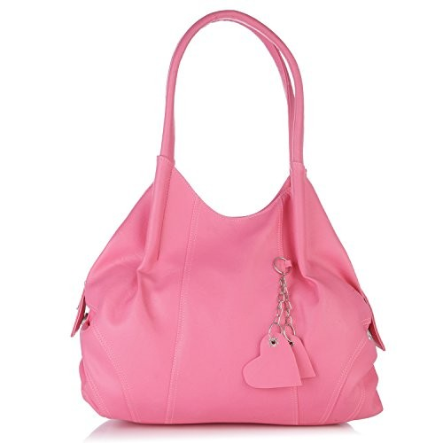 Fostelo Pink Polyurethane Solid Hand-held Bag