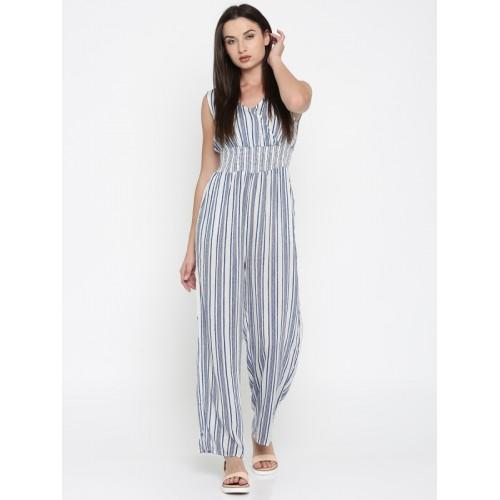 b75ef1dc7c3 Buy Splash Off-White   Blue Striped Basic Jumpsuit online