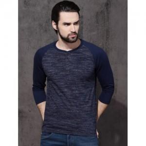 Roadster Men Navy Solid Henley T-shirt