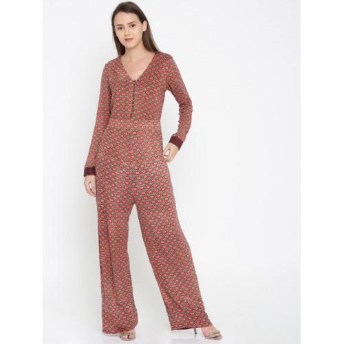 ea56379d7eef Buy Wills Lifestyle Red   Beige Printed Basic Jumpsuit online ...