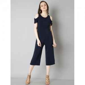 FabAlley Navy Blue Solid Culotte Jumpsuit