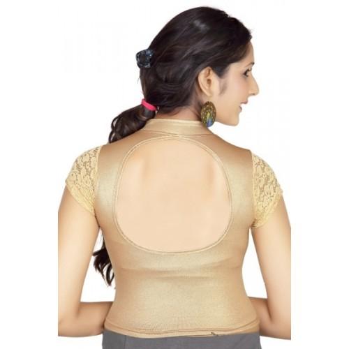 Lyneth Beige Shimmer Lycra Round Neck Women's Stitched Blouse