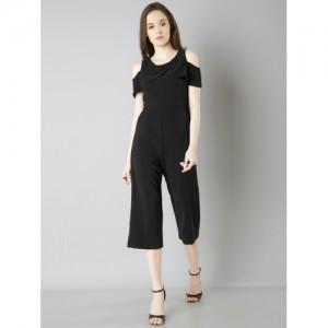 FabAlley Black Solid Culotte Jumpsuit